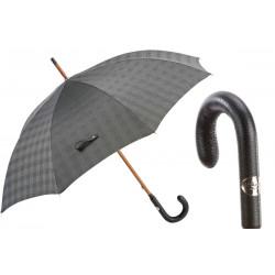 Pasotti Parasol męski Quality Bespoke, 142 Milford-2 P, skórzany uchwyt, stalowa krata