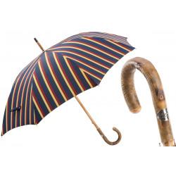 Parasol Pasotti męski w paski Classic One-Piece Ash, 142 Alfred-1 F, uchwyt z litego drewna jesionowego