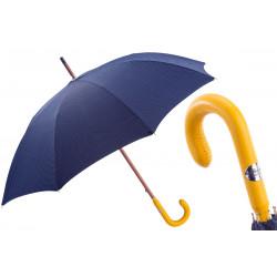 Pasotti Granatowy męski parasol Bespoke, żółty skórzany uchwyt, 142 Pto CN4 P