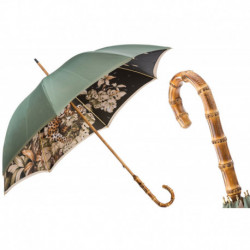 Pasotti Parasol damski Animal 397 991 B - Green Umbrella with Bamboo Handle, Podwójny materiał