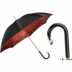 Pasotti Parasol damski Animal 189 90115-2 G15 - Red Leopard Print Umbrella, Podwójny materiał