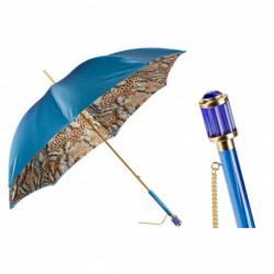 Pasotti Parasol damski Animal 189 56084-4 S11 - Blue Animalier Umbrella, Podwójny materiał