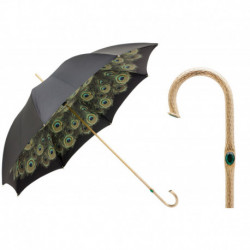 Pasotti Parasol damski Animal 189 Hawaii P5 - Black Umbrella with Peacock Interior, Podwójny materiał