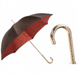 Pasotti Parasol damski Animal 189 21029-21 G2 - Umbrella with Red Giraffe Print Interior, Podwójny materiał