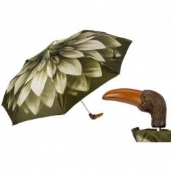 Pasotti Parasol damski składany 257 21273-13 141 - Green Flower Toucan Folding Umbrella