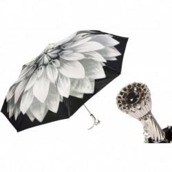 Pasotti Parasol damski składany 257 21273-11 P11 - Silver Dahlia Folding Umbrella