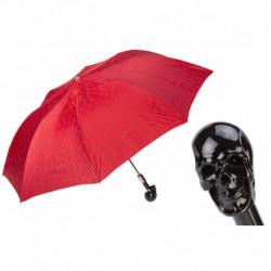 Pasotti Parasol męski składany 64 PRT W33ne - Red Folding Umbrella with Black Skull Handle