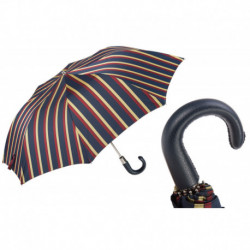 Pasotti Parasol męski składany 64 Alfred-1 P - Striped Folding Umbrella, Leather Handle