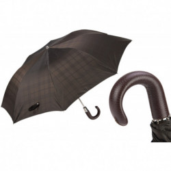 Pasotti Parasol męski składany 64 6434-15 P - Brown Check Umbrella with Leather Handle