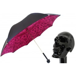 PASOTTI Parasol Damski Black Skull with Roses Print Interior, podwójny baldachim, 189N 50884-2 W33ne