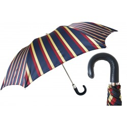 Parasol Pasotti Striped Folding, Leather Handle, 64 Alfred-1 P