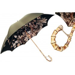 Parasol Pasotti Green with Wonderful Interior and Bamboo Handle, podwójny materiał, 397 991 B