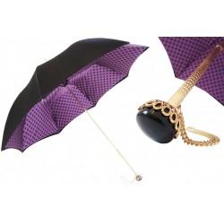 Parasol Pasotti Black with Purple Dots Interior, podwójny materiał, 189 55874-160 T9