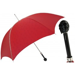 Parasol Pasotti Red with Studs and Black Skull Handle, 416NT PRT W33ne